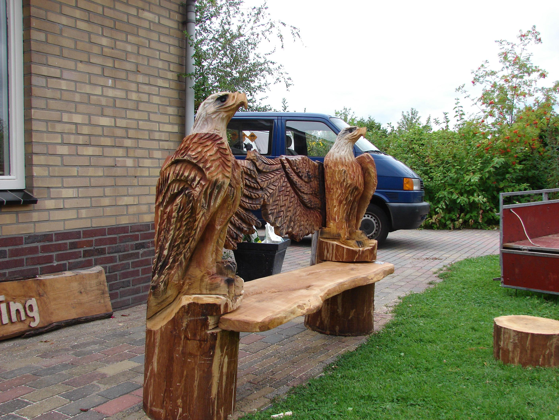 woodcarving, adelaar bank eiken, Eagel bench,